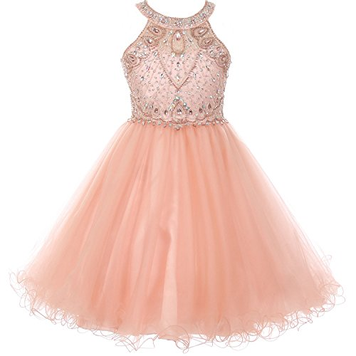 Big Girls Stunning Rhinestones Halter Neck Wired Tulle Corset Back Flower Girl Dress Blush - Size (Neck Rhinestone)