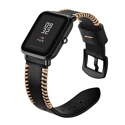 Fine Quick Release Leather Watch Band Wrist Straps Bracelet, for Huami Amazfit Bip Youth Watch Genuine Leather Watch Strap (Black)