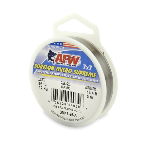 American Fishing Wire Surflon Micro Supreme Nylon Coated 7x7 Stainless Steel Leader Wire, Camo Brown Color, 26 Pound Test, 5-Meter