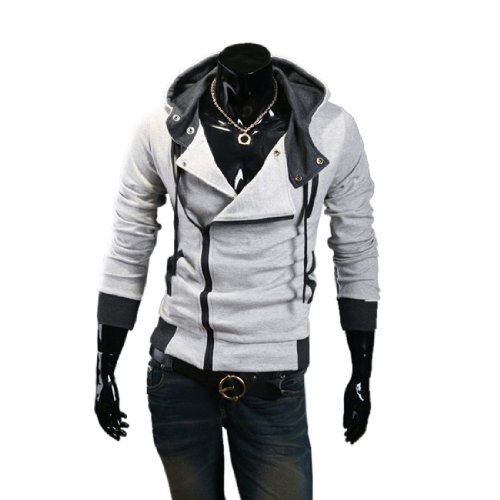 Men's Oblique Zipper Hoodie Cosplay Costume Top Coat Jacket (L, Light Gray)