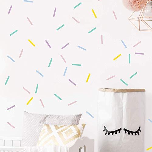 Pastel sprinkles wall decals, Mini bar stickers, Confetti decor, Kids room decoration, 100 pcs