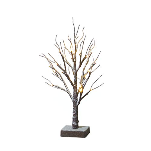 Hairui Tabletop Easter Tree Lights Snow Dusted 24LED 18in Small Pre Lit Tree Battery Powered for Christmas Home Decoration Indoor Use ()