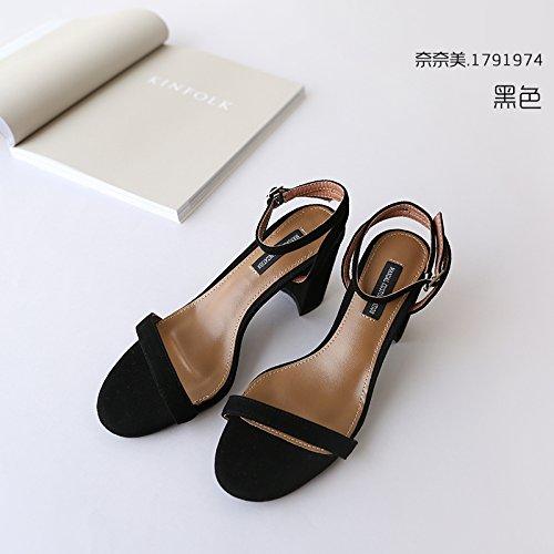 Fille Femme Chaussures Avec Heel SHOESHAOGE Sandales À Simple L'Aide EU37 Fente High Pour D'Épaisses Chaussures La xvqSvOAY