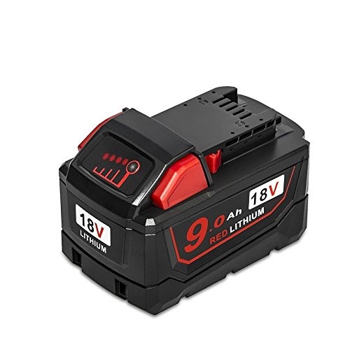 LiBatter 18V 9000mAh RED Lithium Battery Replacement for Milwaukee M18 High Demand 9.0 48-11-1890 Cordless Power Tools (M18) by LiBatter
