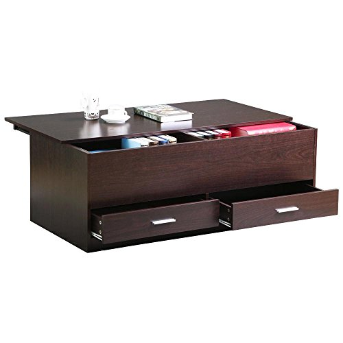go2buy Storage Coffee Table Wooden Trunk Sofa Table for Living Room, - Table Cocktail Flip Rectangular Top