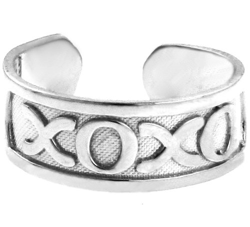 14k White Gold Hugs and Kisses XOXO Toe Ring by More Toe Rings (Image #3)