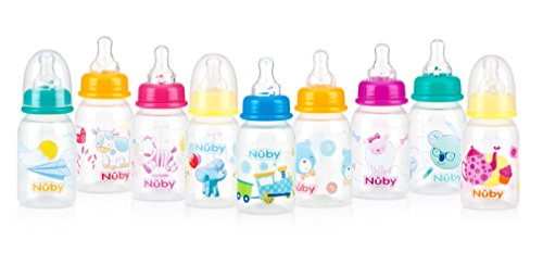 Nuby Printed Non-Drip Bottle, 4 Ounce, Colors May Vary ()