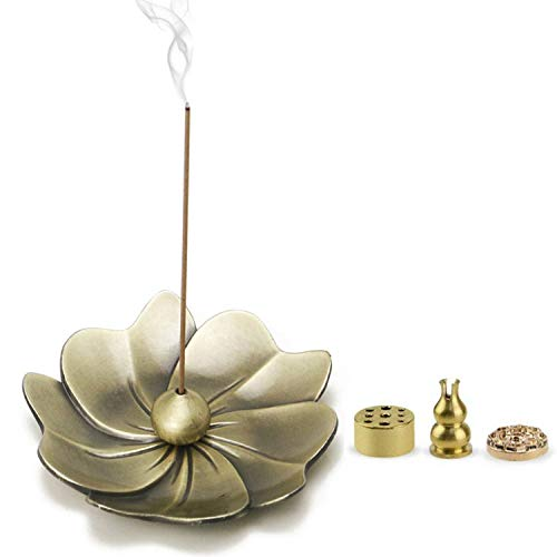 Yakin shop 5 in 1 Vintage Bronze Sakura Flower Shaped Stick Incense Burner and Coil Incense Holder with Ash Catcher for Home Office Club Yoga