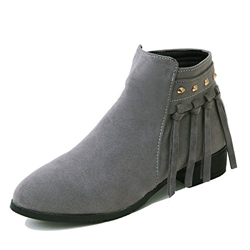 Black Round Leatherette Boots Booties Toe Boots Gray Chunky Heel for Dress Shoes HSXZ Casual Buckle Grey ZHZNVX Fall Fashion Women's Boots Winter Ankle qOcRPc7twC