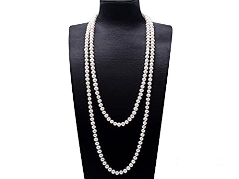 JYX 9-10mm AAA Classic White Round Freshwater Pearl Sweater Necklace 64