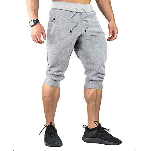 (Menargo 3/4 Casual Shorts Men Elastic Waist Capri Jogger Shorts Below Knee Running Shorts with Three Pockets (Light Grey 3XL) )