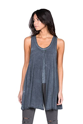 A+D Womens Premium Bamboo Tunic Top w/ Cropped Under Tank (Washed Navy, Medium)