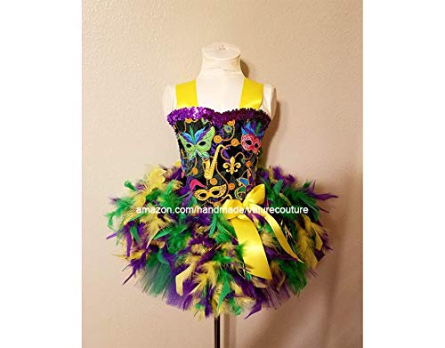 Mardi Gras Outfits For Toddlers (Mardi Gras Mask Feather Inspired Tutu Dress Costume Pageant Birthday Halloween Girls Newborn Infant Toddler Baby Outfit Onesie Shirt Bow Party Princess Kids Gift Topper)