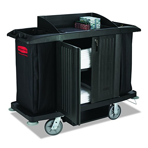 Rubbermaid Commercial Executive Series Full-Size Housekeeping Cart with Doors, Black, FG619100BLA by Rubbermaid Commercial Products
