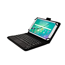 HP Stream 7, Stream 8 keyboard case, COOPER TOUCHPAD EXECUTIVE 2-in-1 Wireless Bluetooth Keyboard Mouse Leather Travel Cases Cover Holder Folio Portfolio + Stand 4G LTE (Black)