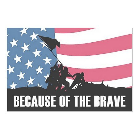 CGSignLab | ''Because Of The Brave'' Repositionable Opaque White 1st Surface Static-Cling Non-Adhesive Window Decal (5-Pack) | 30''x20'' by CGSignLab