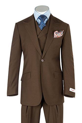 Pure Wool Suit - Tiglio Rosso San Giovesse Tobacco Wide Leg, Pure Wool Suit & Vest