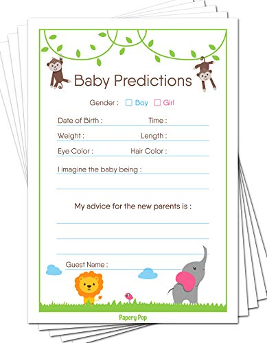 Baby Predictions and Advice Cards (Pack of 50) - Baby Shower Games Ideas for Boy or Girl - Gender Neutral - Party Activities Supplies - Safari Jungle Zoo Animals