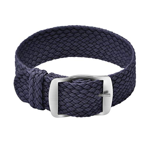 Ullchro Nylon Watch Strap Replacement Perlon Braided Woven Watch Band NATO Men Women - 14mm, 16mm, 18mm, 20mm, 22mm Watch Bracelet with Stainless Steel Silver Buckle (16mm, Navy -