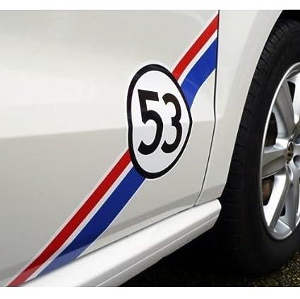 VW racing stripe Racing Stripes decal set 53 Herbie 2pcs. (white Ð black Ð