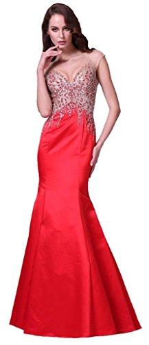 Meier Women's Mermaid Open Back Rhinestone Sleeveless Evening Formal Dress Red-6