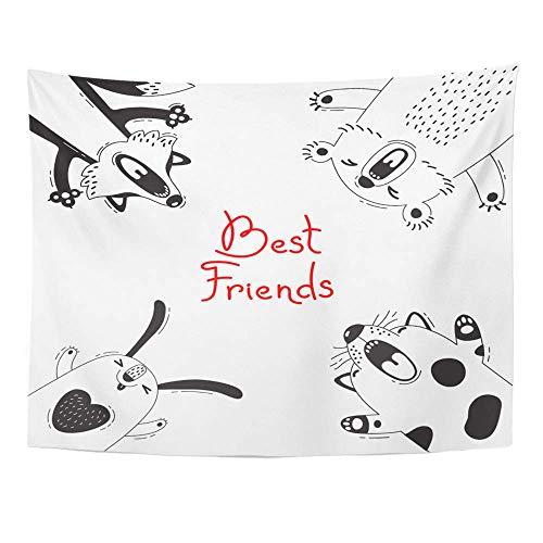 Plbfgfcover Design Friendship Best Friends Bear Fox Dog Rabbit Baby Creative Home Decor Wall Hanging Tapestry