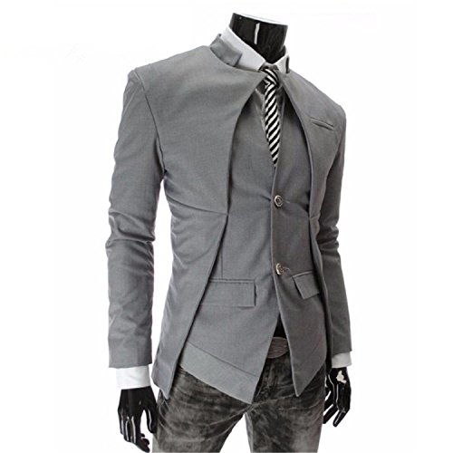 Juseesij 2017 Designer Fashion Mens Suit Jacket England Style Slim Fit Blazer Coats Tuxedo Business Men Suits Gray M