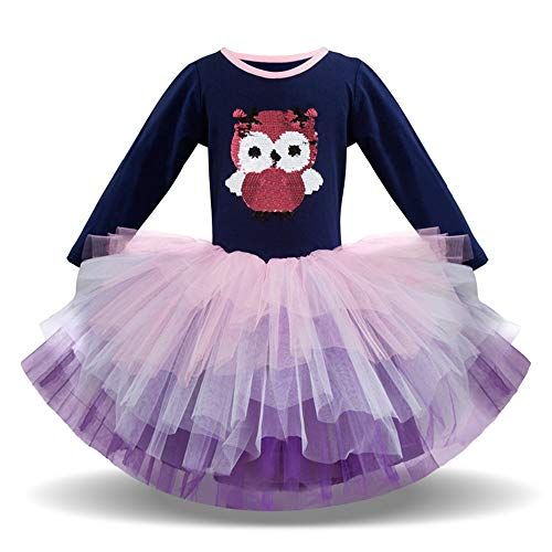 Toddler Girls Princess Tulle Dress Unicorn Cotton Long Sleeve Casual Colorful Lace Dresses ()
