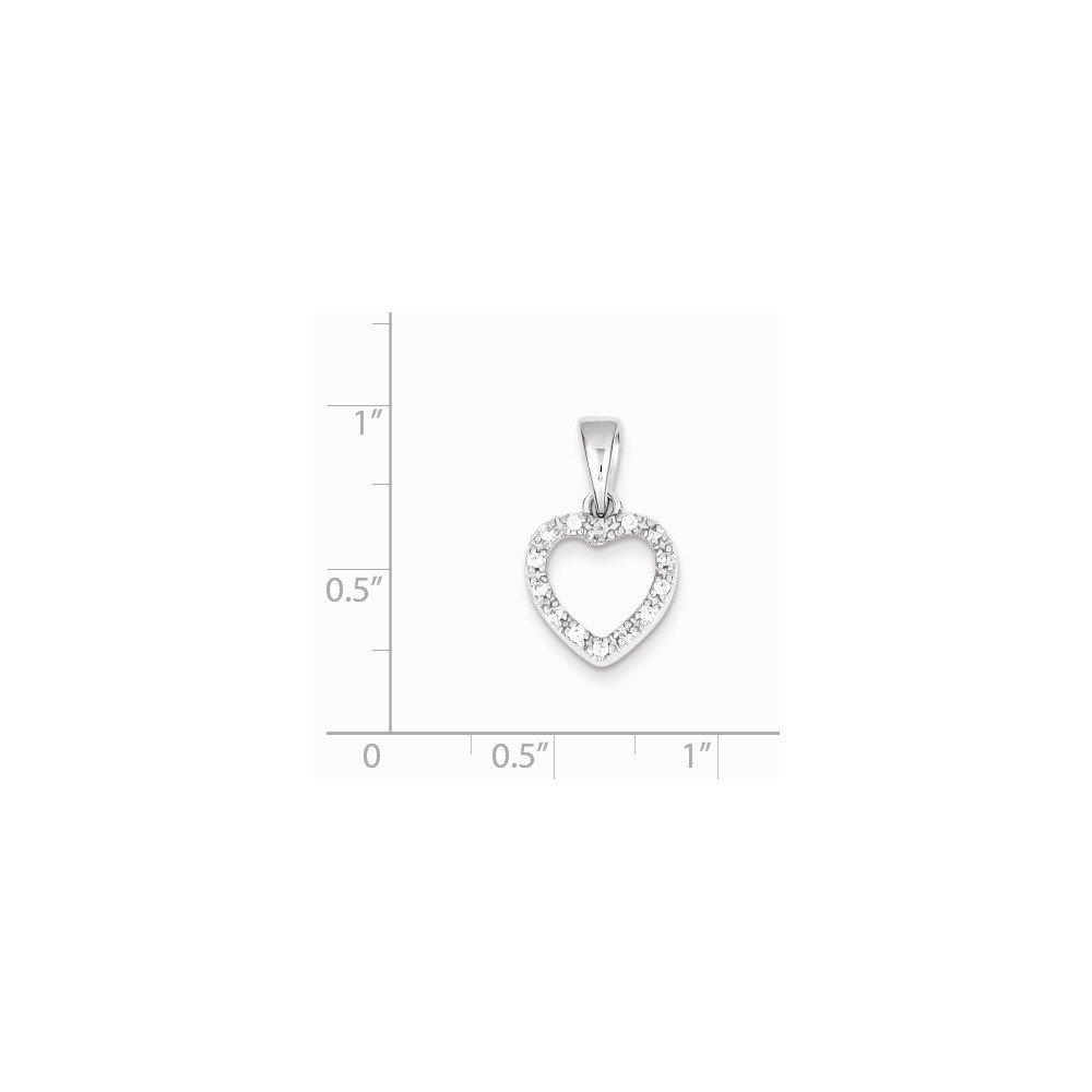 Jewel Tie 925 Sterling Silver CZ Cubic Zirconia Heart Shape Pendant 12mm x 21mm