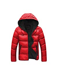 Feicuan Men Cotton Down Jacket Hoodie Front Zip Winter Outdoor Casual Overcoat