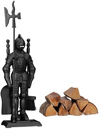 Relaxdays モダン鋳鉄ナイト、4ピース暖炉コンパニオンセット、シャベル、ほうき、ポーカーとラック付き、72 x 21 x 12.5cm、ブラック