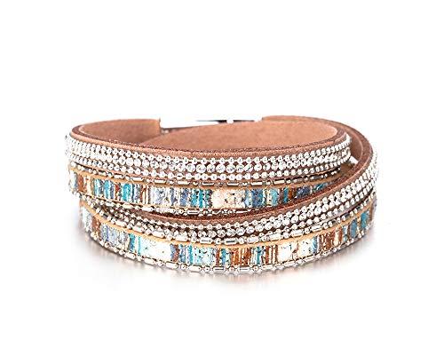 Fesciory Women Multi-Layer Leather Wrap Bracelet Handmade Wristband Braided Rope Cuff Bangle with Magnetic Buckle Jewelry (Colored Rhinestone)