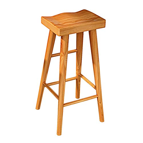 Stools Footstool Work Stool Beauty Stool Shower Stool Step Stool High Stool Solid Wood Nordic Bar Dining Table High Feet GAOFENG (Color : Teak, Size : 45cm)