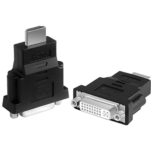 Parts4AV HDMI to DVI Adapter, CableCreation [2-Pack] Bi-directional HDMI Male to DVI Female Converter, 1080P DVI to HDMI Conveter, 3D, 0.15M ()