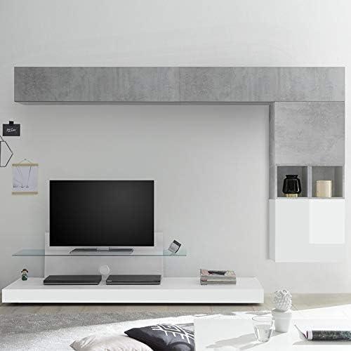 NOUVOMEUBLE Mueble para televisor, Color Blanco Lacado y Gris ...
