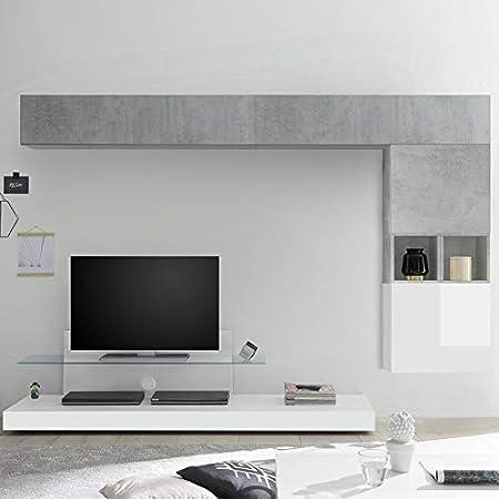 NOUVOMEUBLE Mueble para televisor, Color Blanco Lacado y Gris Lucano: Amazon.es: Hogar