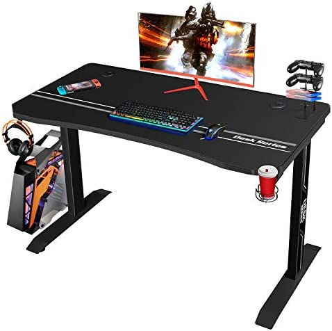 Furmax 44 Inch Gaming Desk T-Shaped PC Computer Table, Home Office Desk Carbon Fibre Surface Workstation with Free Full Coverage Mouse Pad, Cup Holder and Headphone Hook, Black