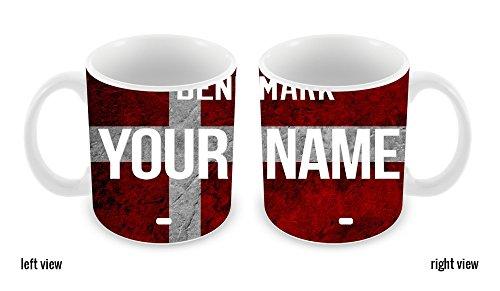 BleuReign(TM) Personalized Custom Name License Denmark Plate 11oz Ceramic Coffee - Official Name Denmark