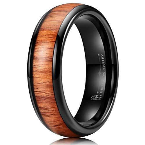 (THREE KEYS JEWELRY 6mm Black Tungsten Carbide Wedding Ring for Women with Koa Wood Inlay Domed Wedding Band Engagement Ring Comfort Fit Size 10)