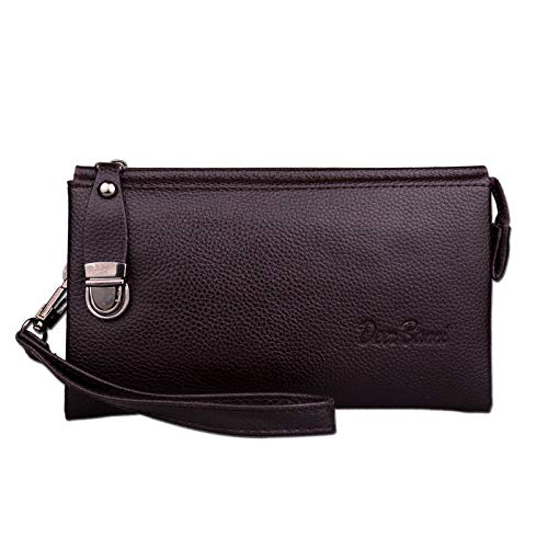 Amazon.com: Luxury Men Long Leather Wallet Cartera Hombre ...