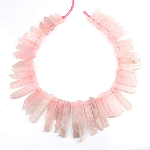 - Calvas Full Strand Natural Amazon Tiger Eye Prenite Nugget Stick Beads Top Drilled Bead Nugget Tusk Beads DIY Jewelry Artwork - (Color: Rose Quartz)
