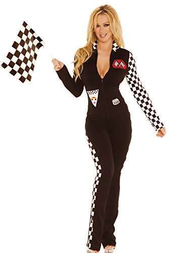 [Women's Sexy Race Car Driver Jumpsuit Adult Role Play Costume] (Sexy Black Race Car Driver Costumes)