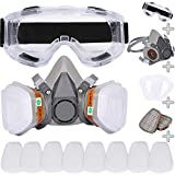 Reusable Face Cover Set for Painting,Gas, Dust, Machine Polishing, Organic Vapors with Filter Cotton, Glasses for Staining,Car Spraying,Sanding &Cutting, DIY and Other Work Protection