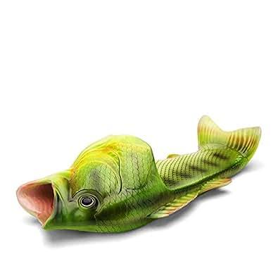 Natsunohi Creative Fish Slippers Man Handmade Fish Sandals Men Beach Bass flip Flops Slides Green Size: 6-6.5