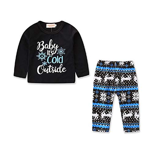 Baby Boy Girl Christmas Outfits Baby Long Sleeve T-Shirt + Deer Pants Clothes Set (Black, 100/2-3 Years) ()