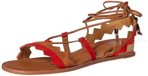 Doux Vie Pedra Femmes Rouge Sandale Plate / Multi Suède