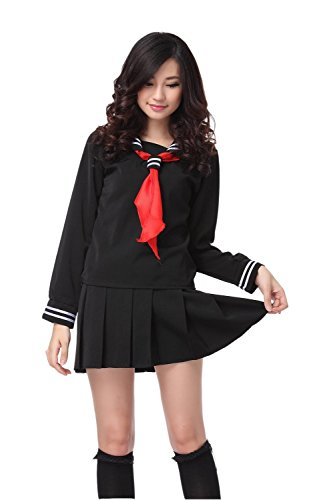 [Womens 2pcs Sailor School Uniform Dress Lolita Sailor Suit Black XL GC13A] (Anime Girl Costumes)