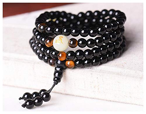 Black Buddha Beads Bangles & Bracelets Handmade Jewelry Ethnic Glowing in The Dark Bracelet for Women or Men hxx824z290-6mm Dog Loyalty