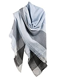 MissShorthair Winter Plaid Blanket Scarfs for Women Large Square Tartan Shawl Wrap