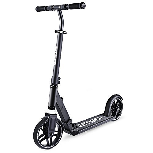 GBtiger Foldable Adult Scooter, 220Lb Weight Limit, Hand Brake, Folds Down Adjustable Handle Bars Smooth & Fast Ride